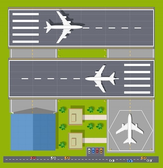 Overhead point of view airport with all the buildings, planes, vehicles and airport