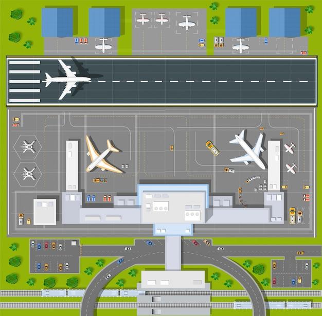 모든 건물, 비행기, 차량 및 공항이있는 오버 헤드 시점 공항