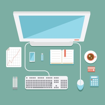 Вид сверху на офисную рабочую станцию в плоском стиле с мышью настольного компьютера и клавиатурой, калькулятор мобильного телефона, usb-накопители, графики и чашка кофе, векторная иллюстрация