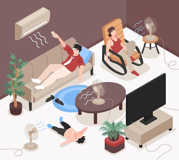 Перегретые персонажи, использующие кондиционер и электрические вентиляторы дома, изометрическая иллюстрация