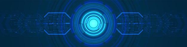 조명 효과 및 회로 기판 화살표 속도로 겹치는 원 디지털 배경 렌즈 기술