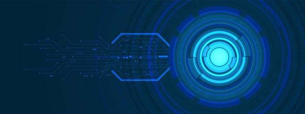 조명 효과 및 회로 기판이 있는 겹치는 원형 디지털 배경 스마트 렌즈 기술