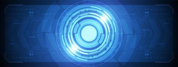 조명 효과 및 회로 기판 화살표 속도가 있는 겹침 원형 디지털 인터페이스 기술 렌즈