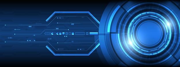 화살표 배경이 있는 조명 효과 회로 기판이 있는 겹치는 원 디지털 스마트 렌즈 기술