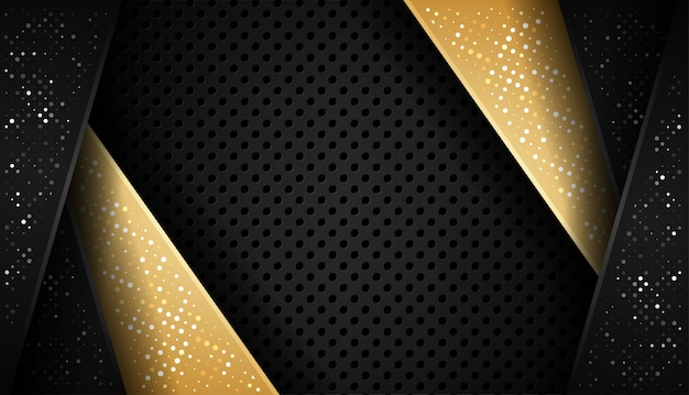 Overlap shape abstract gold black frame layout design tech with glitters and light effect