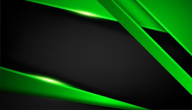 반짝이와 조명 효과와 중복 모양 추상 녹색 검은 색 프레임 레이아웃 디자인 기술 프리미엄 벡터
