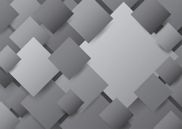 重なっている黒、灰色の斜めの空白の正方形の背景