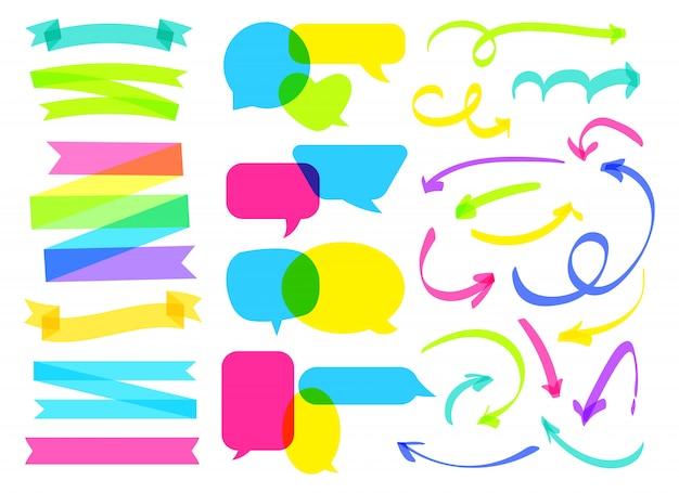 Overlapping comic speech bubble, ribbon, arrow set. overprint hand drawn highlighter marker line