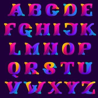 Идея дизайна алфавита перекрывающихся градиентов. шрифт с засечками slab