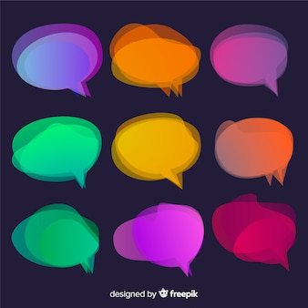 Overlay colourful shapes for speech bubbles