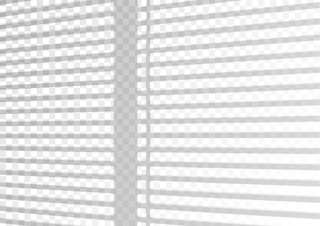 오버레이 그림자 효과. 투명한 오버레이 창과 블라인드 그림자. 투명한 배경에 그림자와 자연광의 사실적인 조명 효과.
