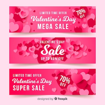 Overloped hearts valentine's day sale banner