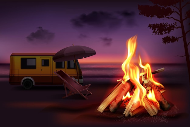 Overnight in nature realistic burning campfire illustration