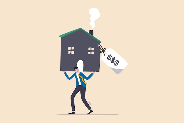 Overpay in real estate and house mortgage, too much invest or expense to pay for debt