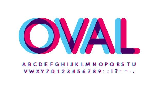 문자와 숫자 세트를 중복 인쇄합니다. 빛나는 파란색과 보라색 스펙트럼 효과 스타일 벡터 라틴 알파벳. 디지털 이벤트, 프로모션, 로고, 배너, 모노그램 및 포스터용 글꼴입니다. 타이포그래피 디자인