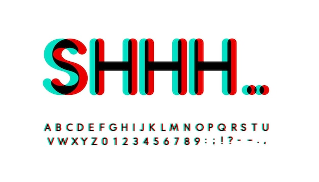文字と数字のセットをオーバープリントします。輝くターコイズと赤のスペクトル効果スタイルベクトルラテンアルファベット。デジタルイベント、プロモーション、ロゴ、バナー、モノグラム、ポスターのフォント。タイポグラフィのデザイン。