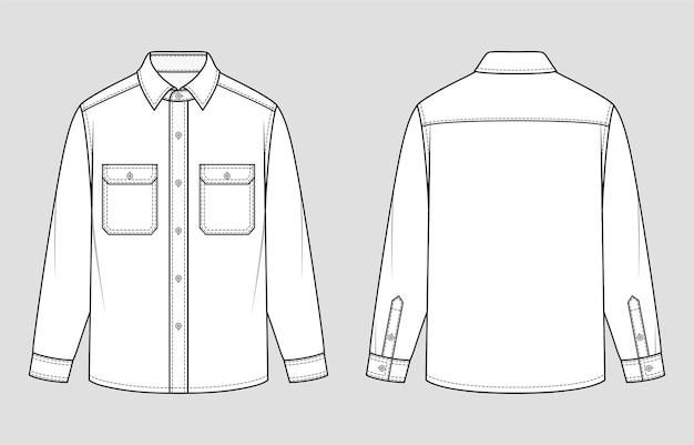 Overshirt. relaxed fit. vector illustration. flat technical drawing. mockup template.