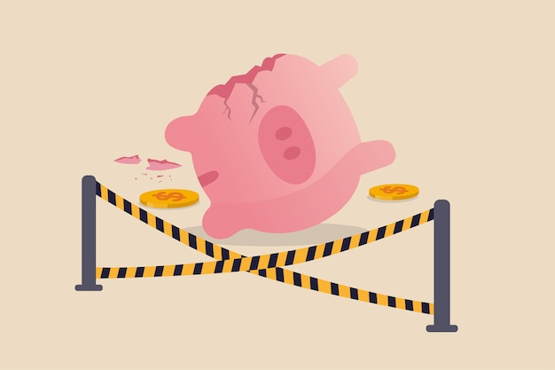 Overspending financial mistake, money lost in investment or stock market crash causing bankruptcy in economic crisis concept, broken pink piggy bank and money been stolen with yellow crime scene tape.