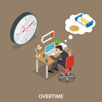 Overtime isometric flat vector illustration