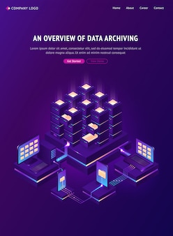 Overview of data archiving banner Free Vector