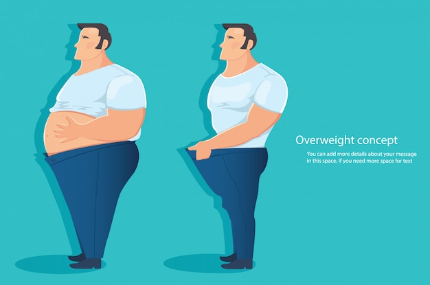 Overweight character belly fat vector