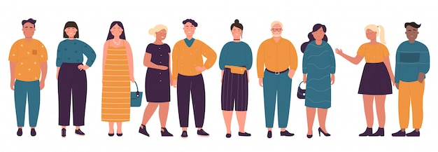 Overweight different age men and women color   illustration set  on white background.