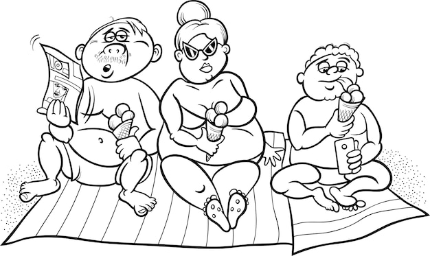 Overweight family on beach for coloring