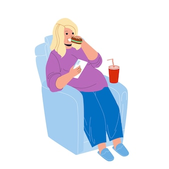 Overweight girl eat fast food in armchair vector. young overweight girl sitting in chair eating sandwich, drinking soda drink and holding smartphone. character fat problem flat cartoon illustration