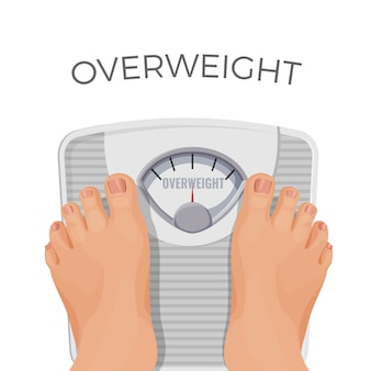 白で隔離のスケールで太った足を持つ太りすぎの人間。重い女性の体重計の上に立っている体重以上の人