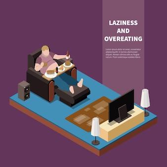 과체중 게으른 남자는 tv 3d 아이소 메트릭 그림 앞에서 열성 먹고 마시는 고통