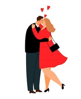 太りすぎの愛のカップル。プラスサイズのスーツと赤いドレスの漫画のカジュアルなカップル