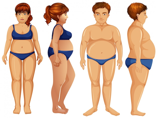 Overweight male and female figures