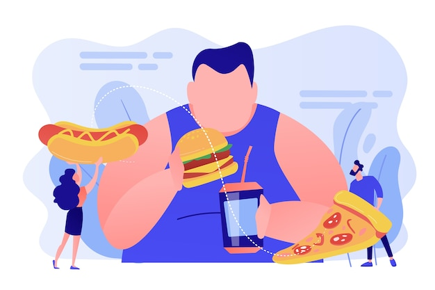 Overweight man eating burger, tiny people giving fast food. overeating addiction, binge eating disorder, compulsive overeating treatment concept. pinkish coral bluevector isolated illustration