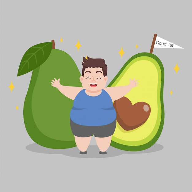 Overweight man love avocado illustration