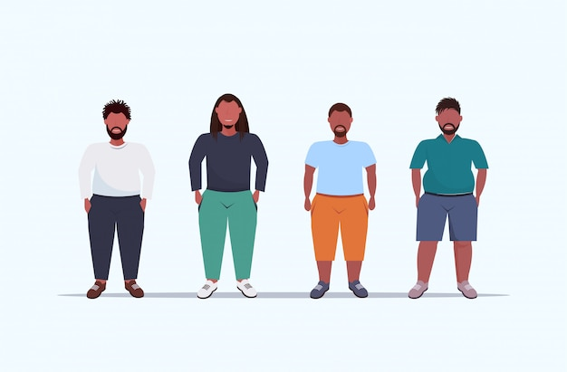 Overweight men group standing together unhealthy lifestyle concept   guys in casual clothes over size male cartoon characters full length flat horizontal
