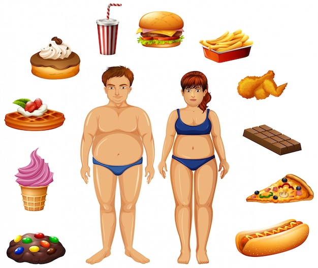 Overweight people with unhealthy food