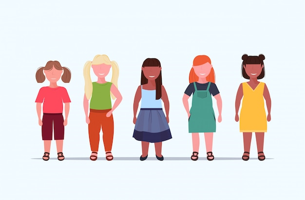 Overweight smiling girls over size children group standing together unhealthy lifestyle concept  mix  female cartoon characters full length flat white background horizontal