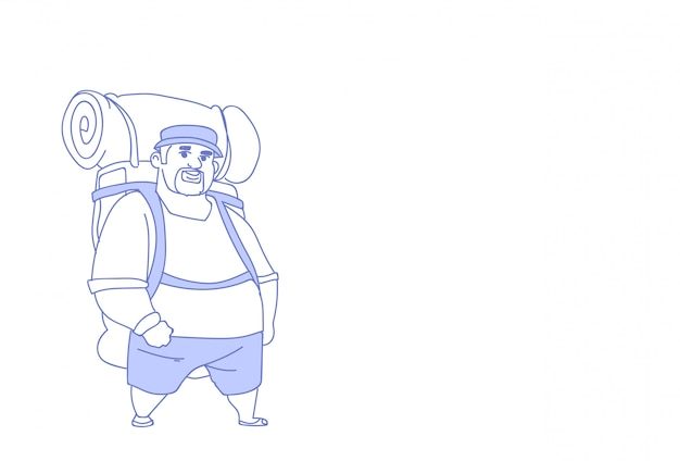 Overweight traveler man backpacker outdoor hiking male tourist summer vacation trip sketch doodle horizontal