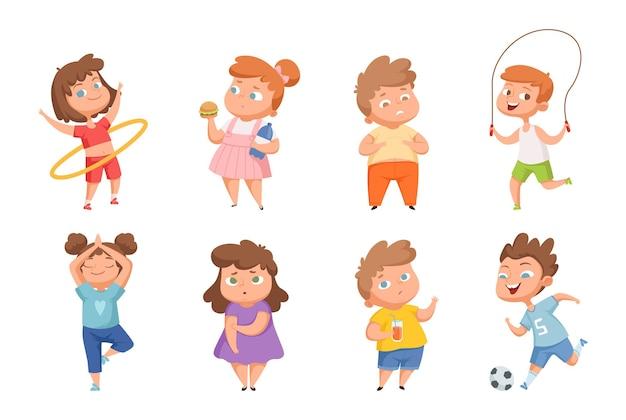 과체중 vs 운동을 좋아하는 어린이. 혼란스러운 뚱뚱한 아이들, 행복한 마른 소년 소녀들. 건강하고 건강에 해로운 생활 방식 벡터 문자입니다. 과체중 몸과 피트니스 스포티 한 캐릭터 일러스트