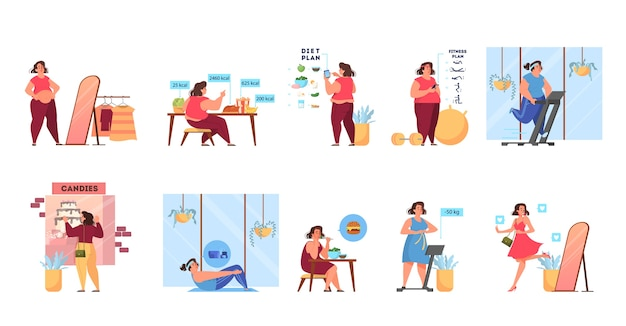 Overweight woman become thin process. idea of fitness and healthy diet. weight loss process. woman with big belly , person suffer from obesity.   illustration in cartoon style