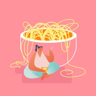 Overweight woman sitting in lotus position on floor at huge bowl eating noodles with wooden chopsticks. oriental cuisine and chinese food concept, asian gastronomy cartoon flat