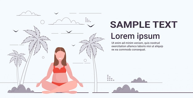 Overweight woman in swimsuit plus size girl on beach sitting lotus pose summer vacation obesity concept tropical island landscape background full length flat horizontal