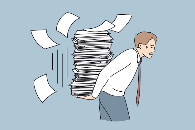 Overwork, stress, exhaustion at work concept. young tired stressed businessman cartoon character carrying heap of papers having much duties things to do vector illustration
