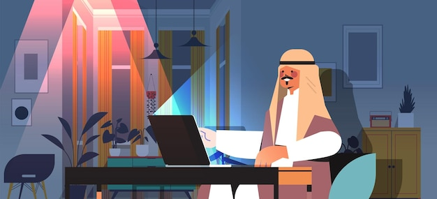 Overworked arab businessman freelancer looking at laptop screen arabic man sitting at workplace in dark night home room horizontal portrait vector illustration