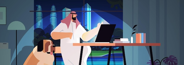 Overworked arab businessman freelancer looking at laptop screen man sitting at workplace in dark night home room horizontal portrait vector illustration