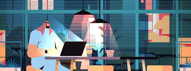 Overworked arab businessman sitting at workplace business man freelancer looking at computer screen in dark night home office horizontal portrait vector illustration