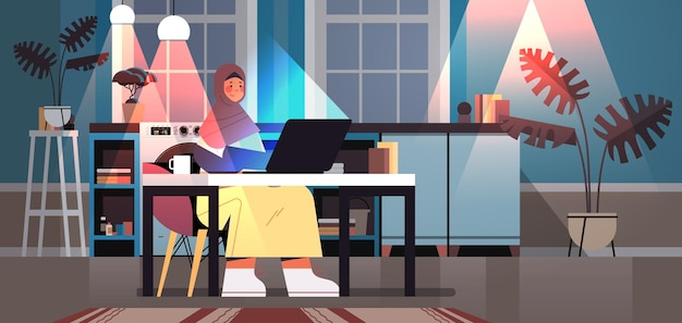 Overworked arab businesswoman freelancer looking at laptop screen woman sitting at workplace in dark night home room horizontal full length vector illustration