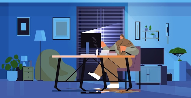 Overworked arab businesswoman sitting at workplace business woman freelancer looking at computer screen in dark night home office horizontal full length vector illustration