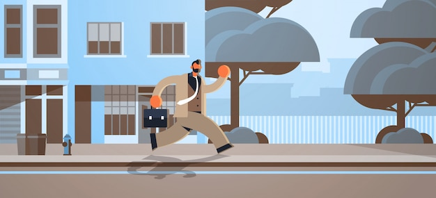 Overworked business man running with briefcase deadline concept male office worker in formal wear modern city street