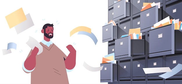 Overworked businessman searching documents in filing wall cabinet with open drawers data archive storage business administration paper work concept horizontal portrait vector illustration